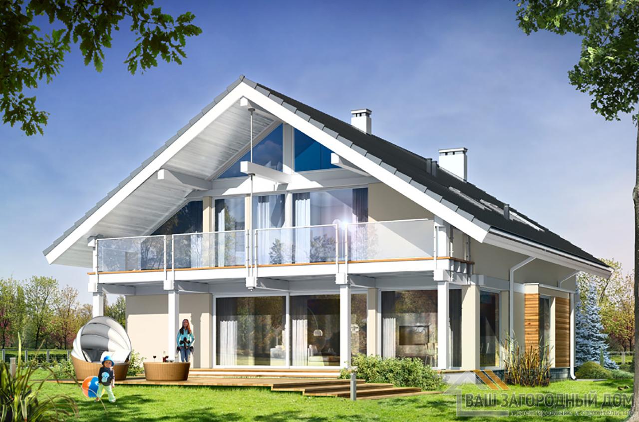 Проект одноэтажного строения с жилым чердаком площадью 311 м2 + гараж на два авто