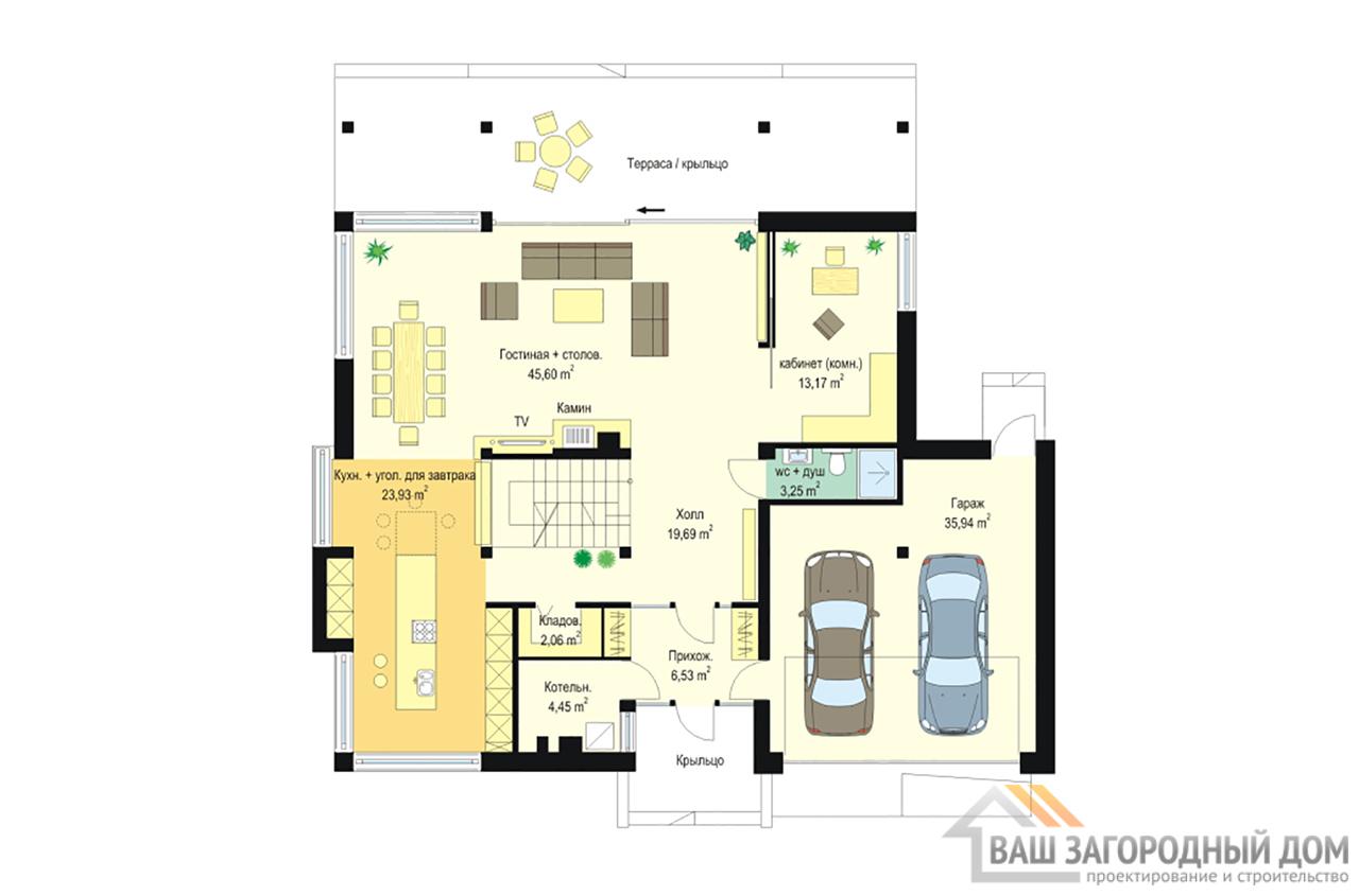 Проект одноэтажного строения с жилым чердаком площадью 311 м2 + гараж на два авто  вид 5
