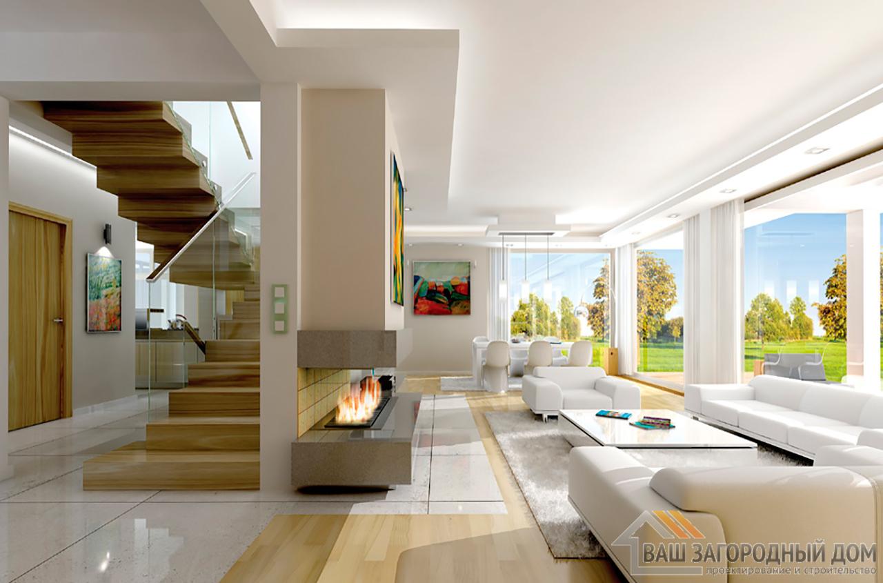 Проект одноэтажного строения с жилым чердаком площадью 311 м2 + гараж на два авто  вид 7