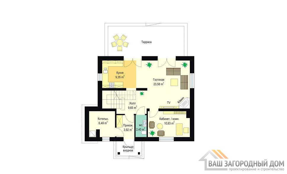 Проект оригинального дома в один этаж с мансардой площадью 159 м2 вид 4
