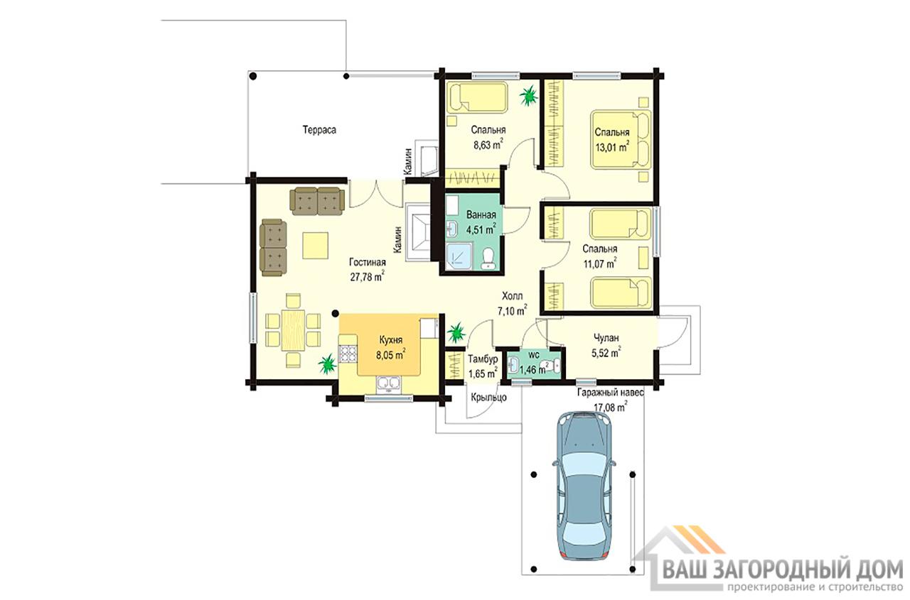 Проект одноэтажного бревенчатого дома площадью 108 м2 вид 3