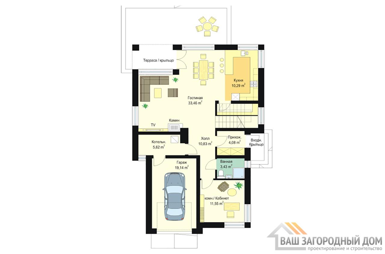 Проект одноэтажного строения прямоугольной формы с мансардой площадью 239 м2 вид 4