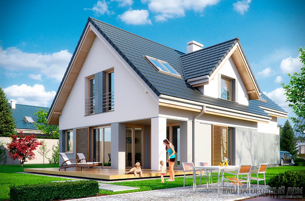 Проект одноэтажного строения прямоугольной формы с мансардой площадью 239 м2 вид 5