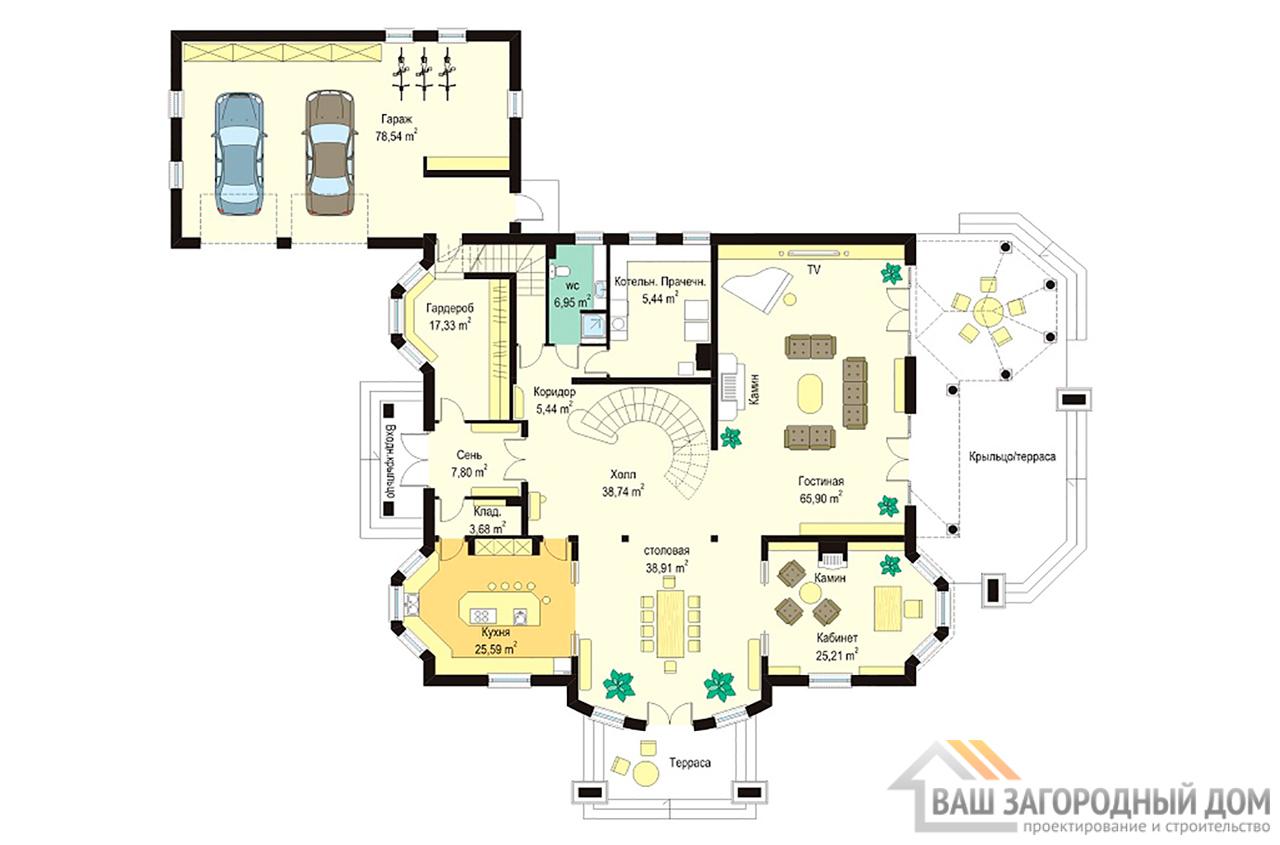 Проект представительного двухэтажного дома  площадью 728 м2  вид 4