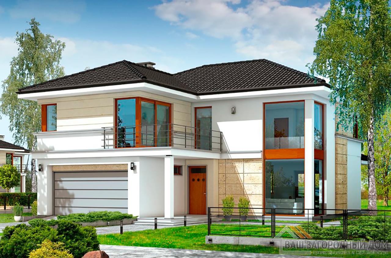 Проект двухэтажного строения Т- образной формы площадью 364 м2