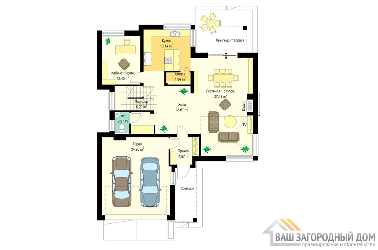Проект двухэтажного строения Т-образной формы площадью 364 м2 вид 5