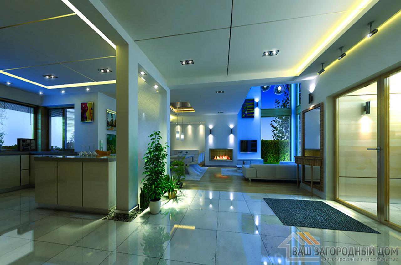 Проект двухэтажного строения Т-образной формы площадью 364 м2 вид 6