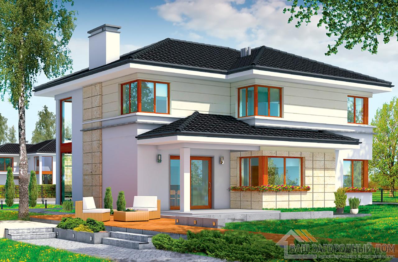 Проект двухэтажного строения Т-образной формы площадью 364 м2 вид 7