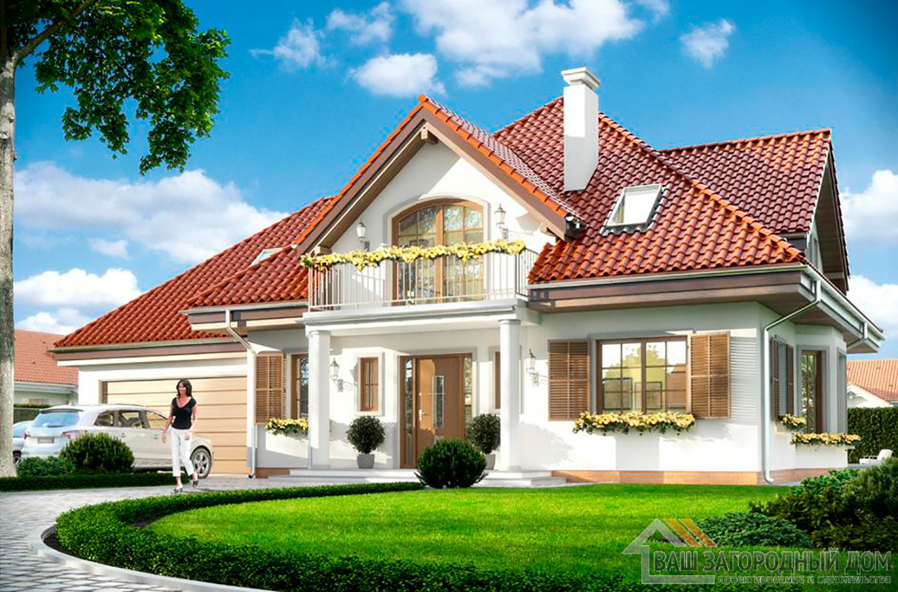 Классический проект дома в один этаж с жилым чердаком площадью 270 м2