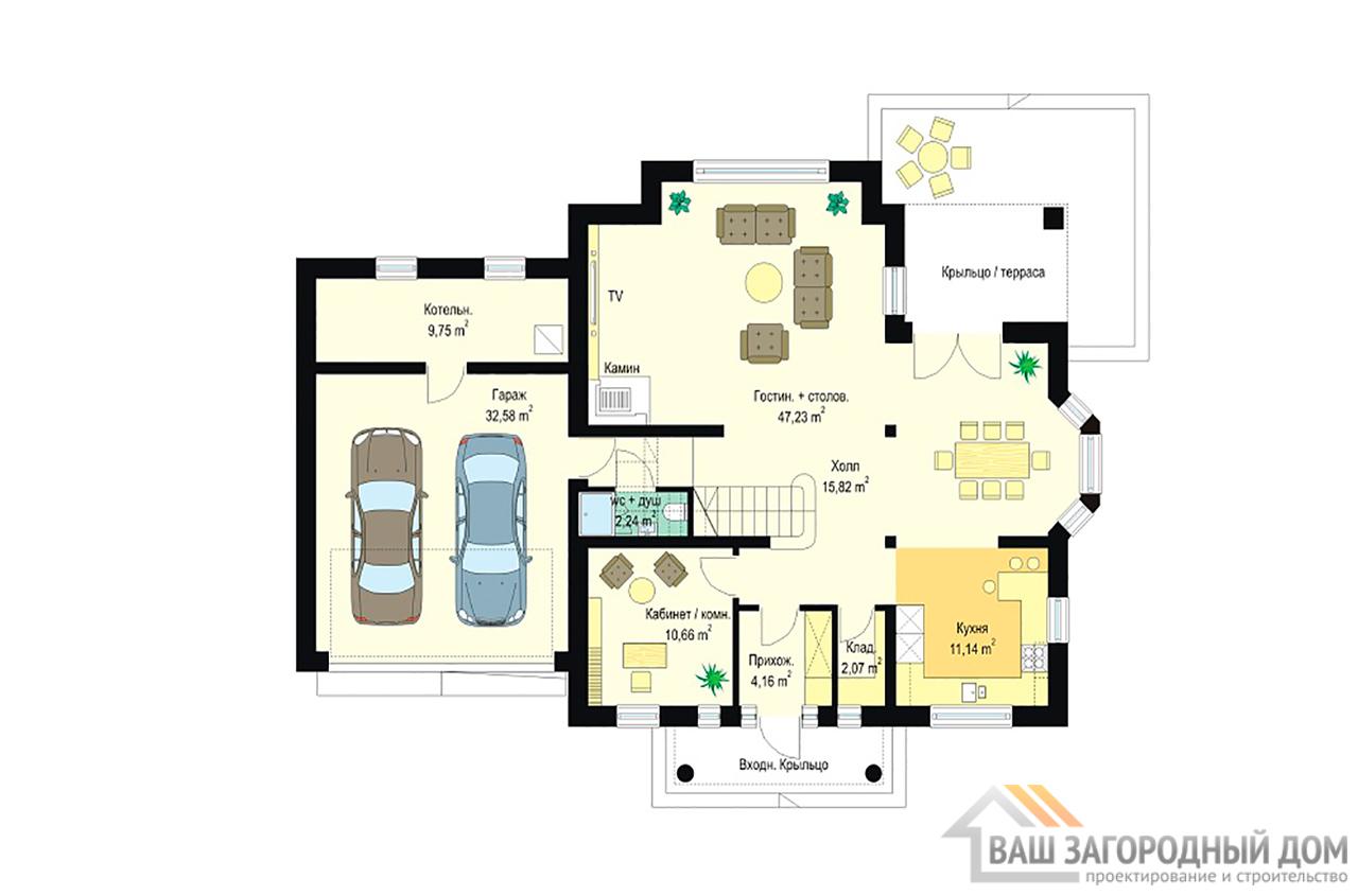 Классический проект дома в один этаж с жилым чердаком площадью 270 м2  вид 3