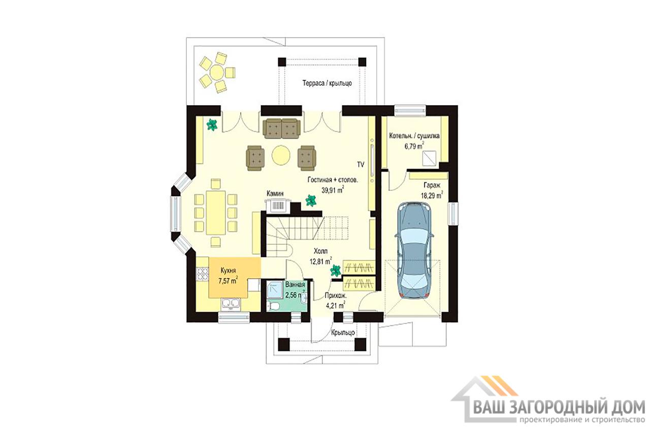 Готовый проект одноэтажного дома с мансардой площадью 200 м2