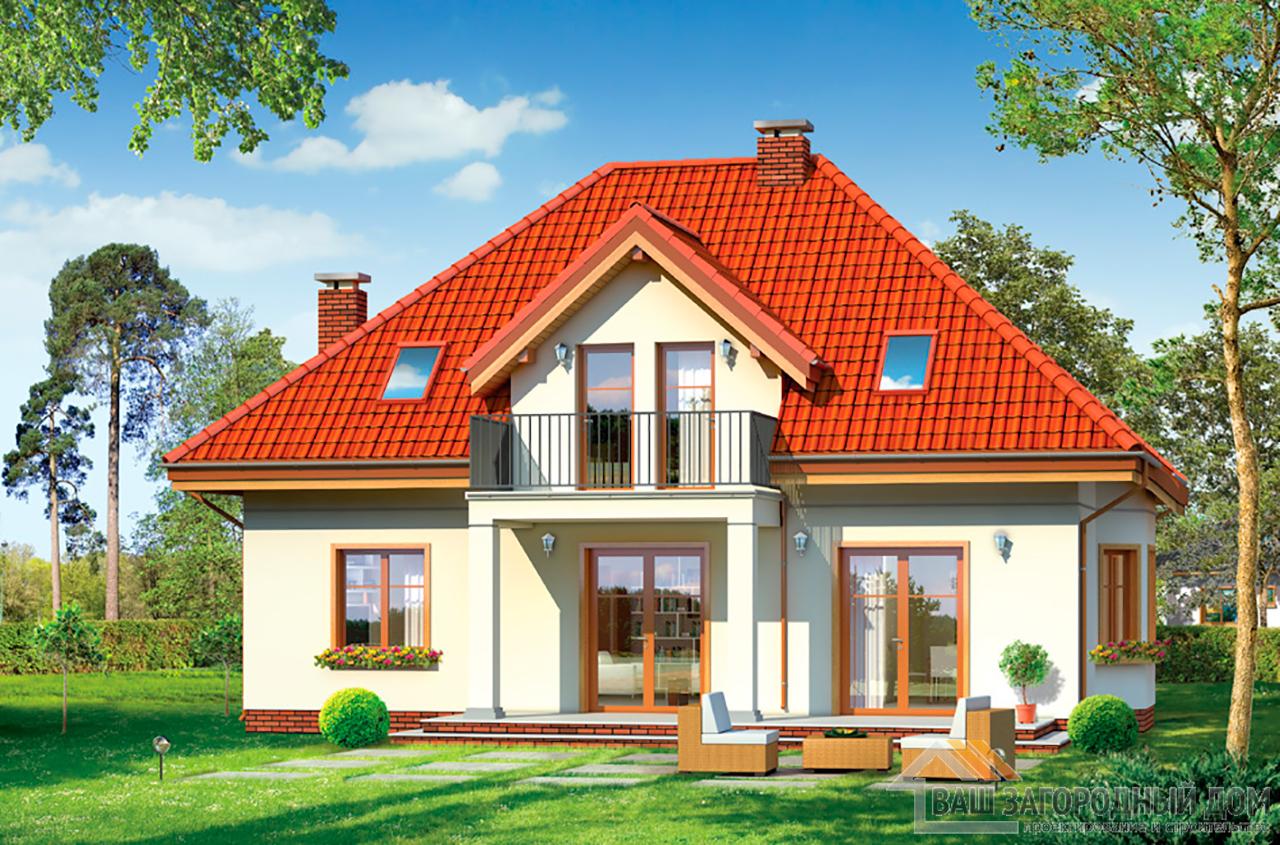 Готовый проект одноэтажного дома с мансардой площадью 200 м2 вид 2