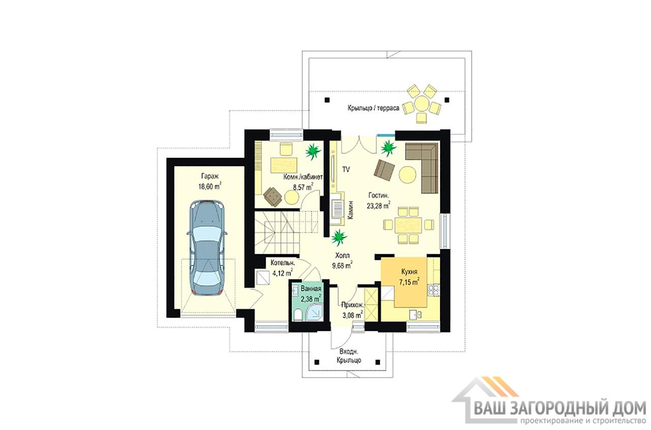 Готовый проект 1 этажного дома площадью 163 м2 + гараж вид 3