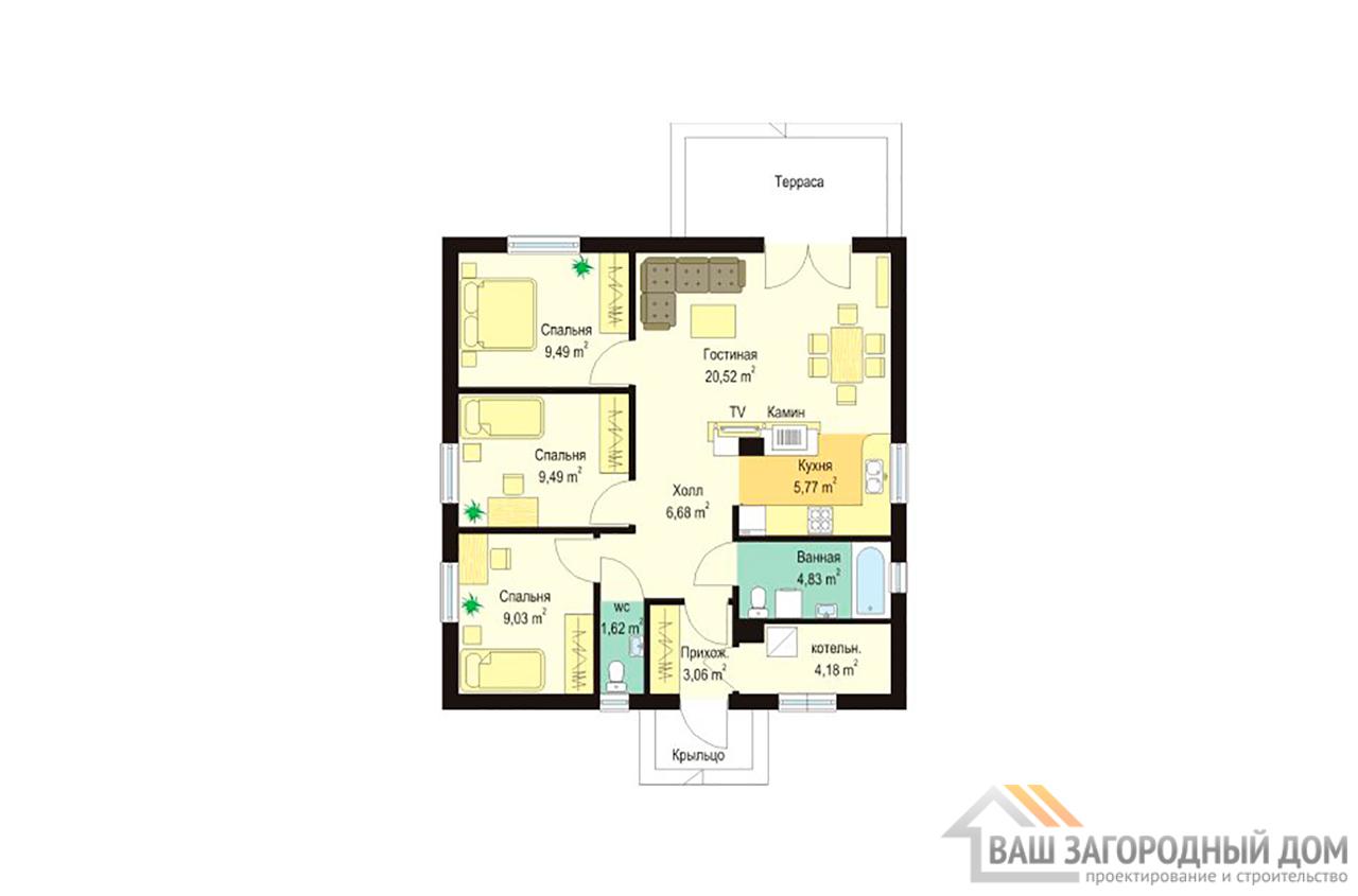 Типовой проект дома в один этаж с мансардой площадью 90 м2  вид 3