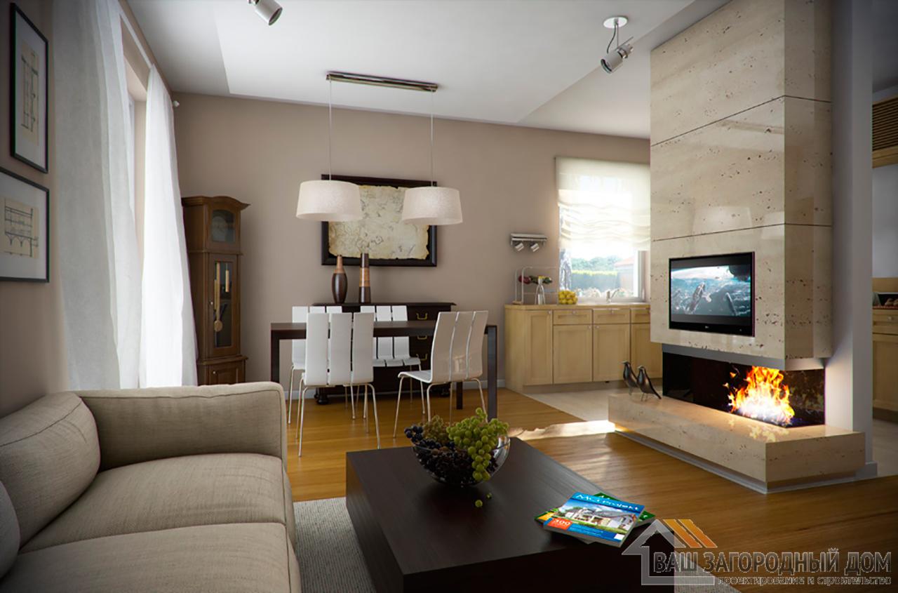 Типовой проект дома в один этаж с мансардой площадью 90 м2  вид 4
