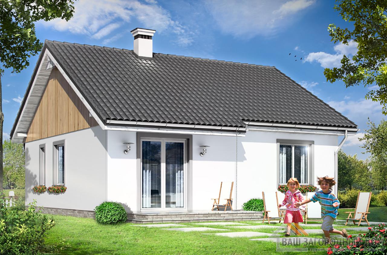 Типовой проект дома в один этаж с мансардой площадью 90 м2  вид 5