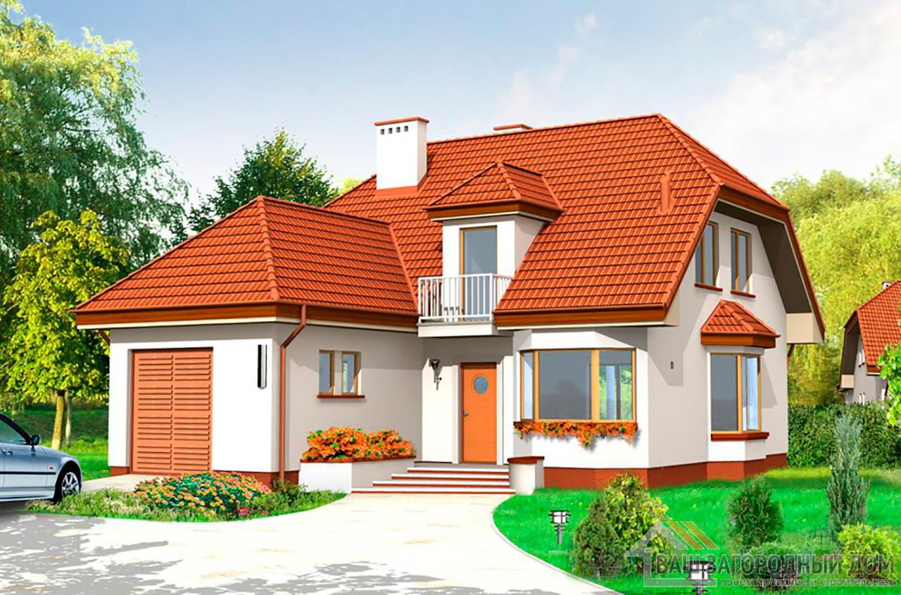 Проект одноэтажного дома с жилым чердаком и пристроенным  гаражом, общей площадью 190 м2