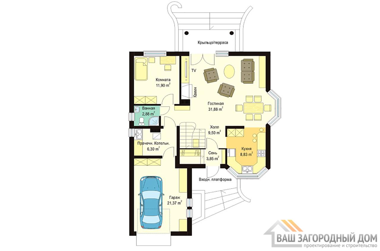 Проект одноэтажного дома с жилым чердаком и пристроенным  гаражом, общей площадью 190 м2  вид 3
