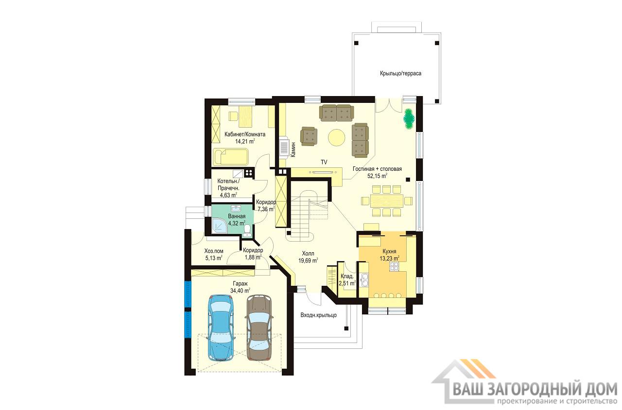 Проект дома в один этаж площадью 303 м2 + гараж