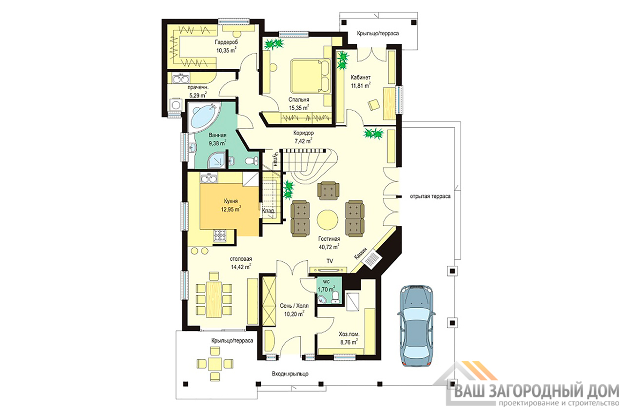 Проект  1 этажного дома с мансардой площадью 235 м2 вид 2