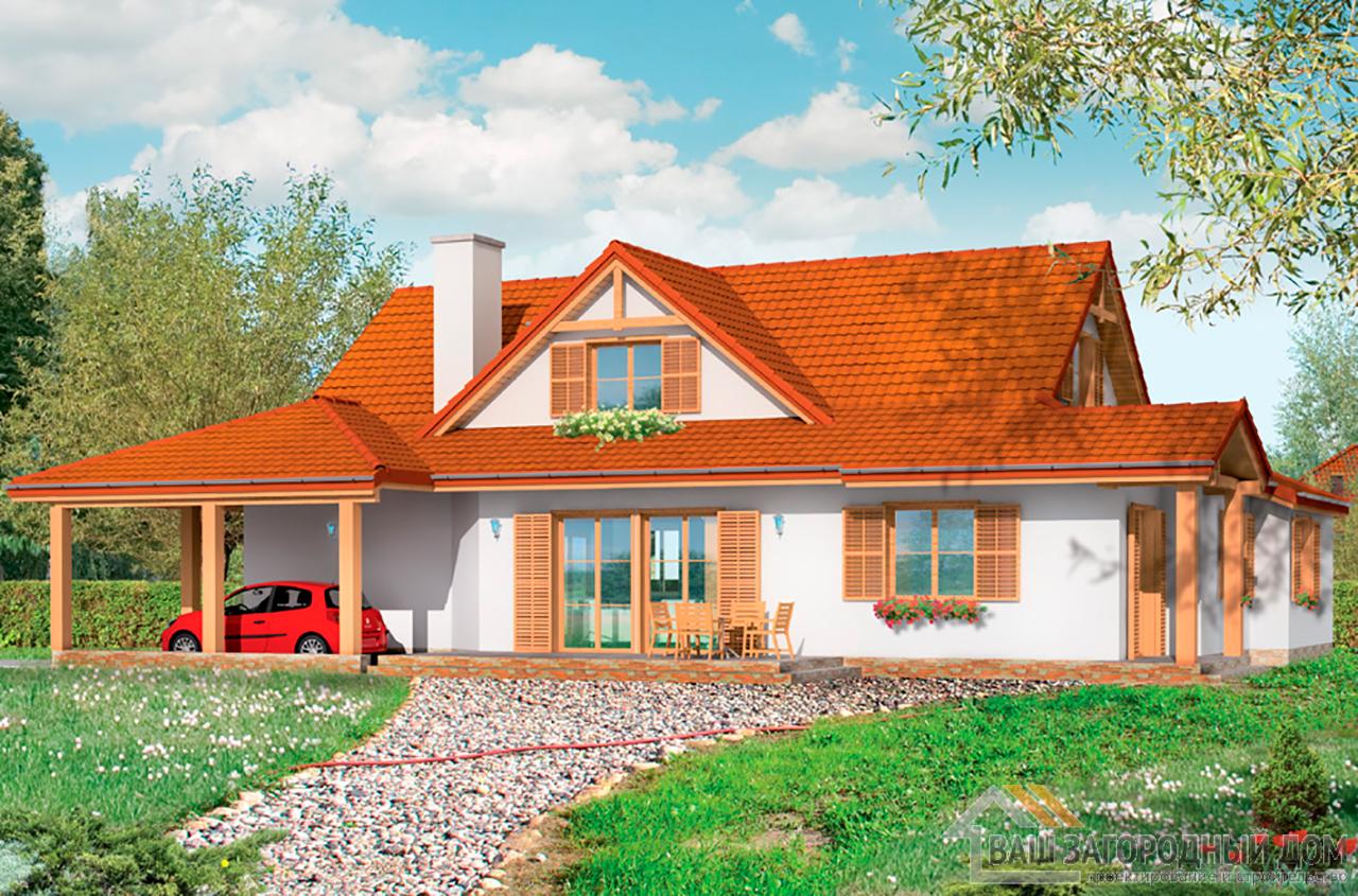 Проект  1 этажного дома с мансардой площадью 235 м2 вид 3