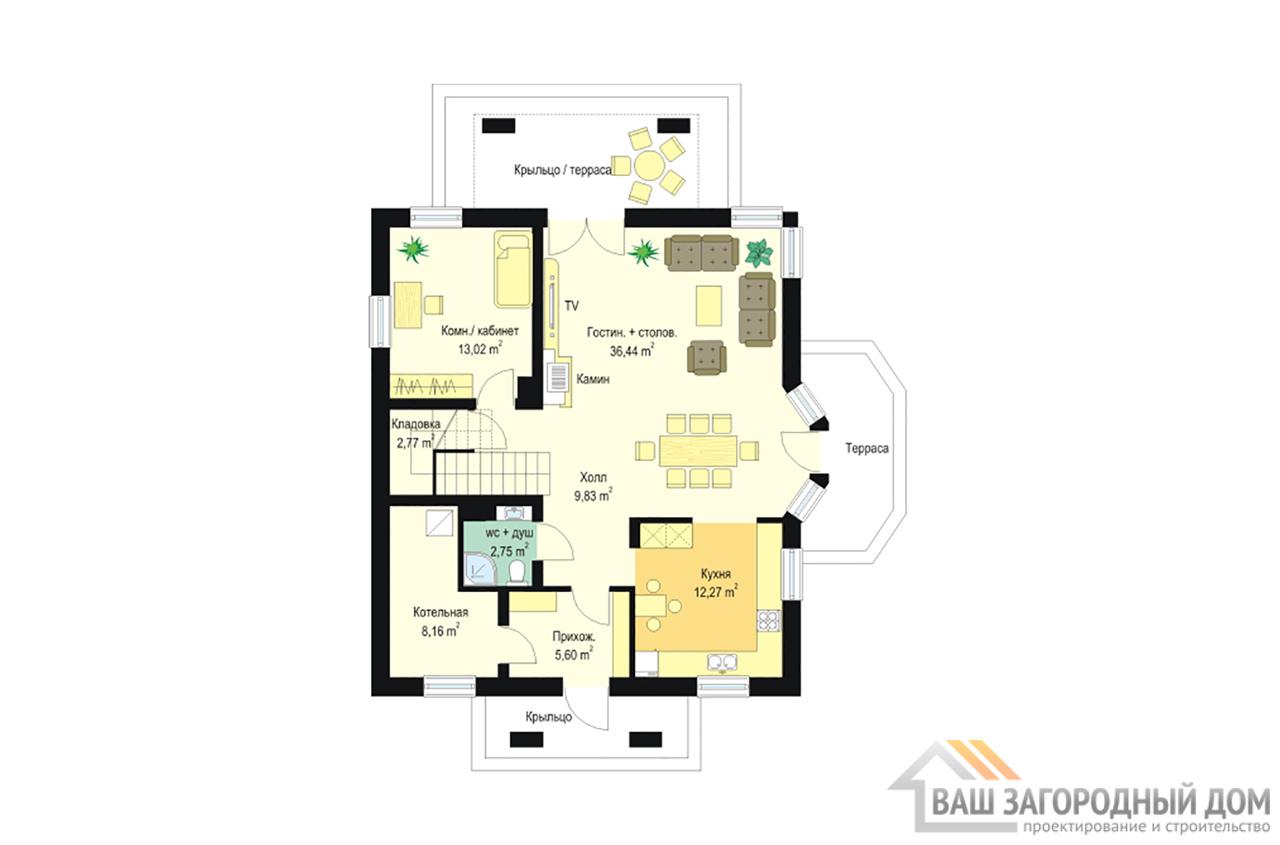 Проект постройки в один этаж с мансардой площадью 183 м2 вид 4