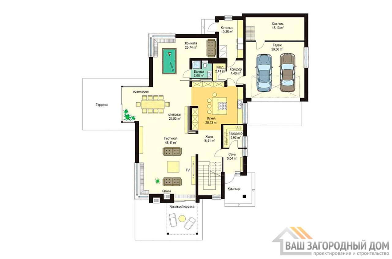Проект  двухэтажного дома с пристроенным гаражом площадью 426 м2  вид 2