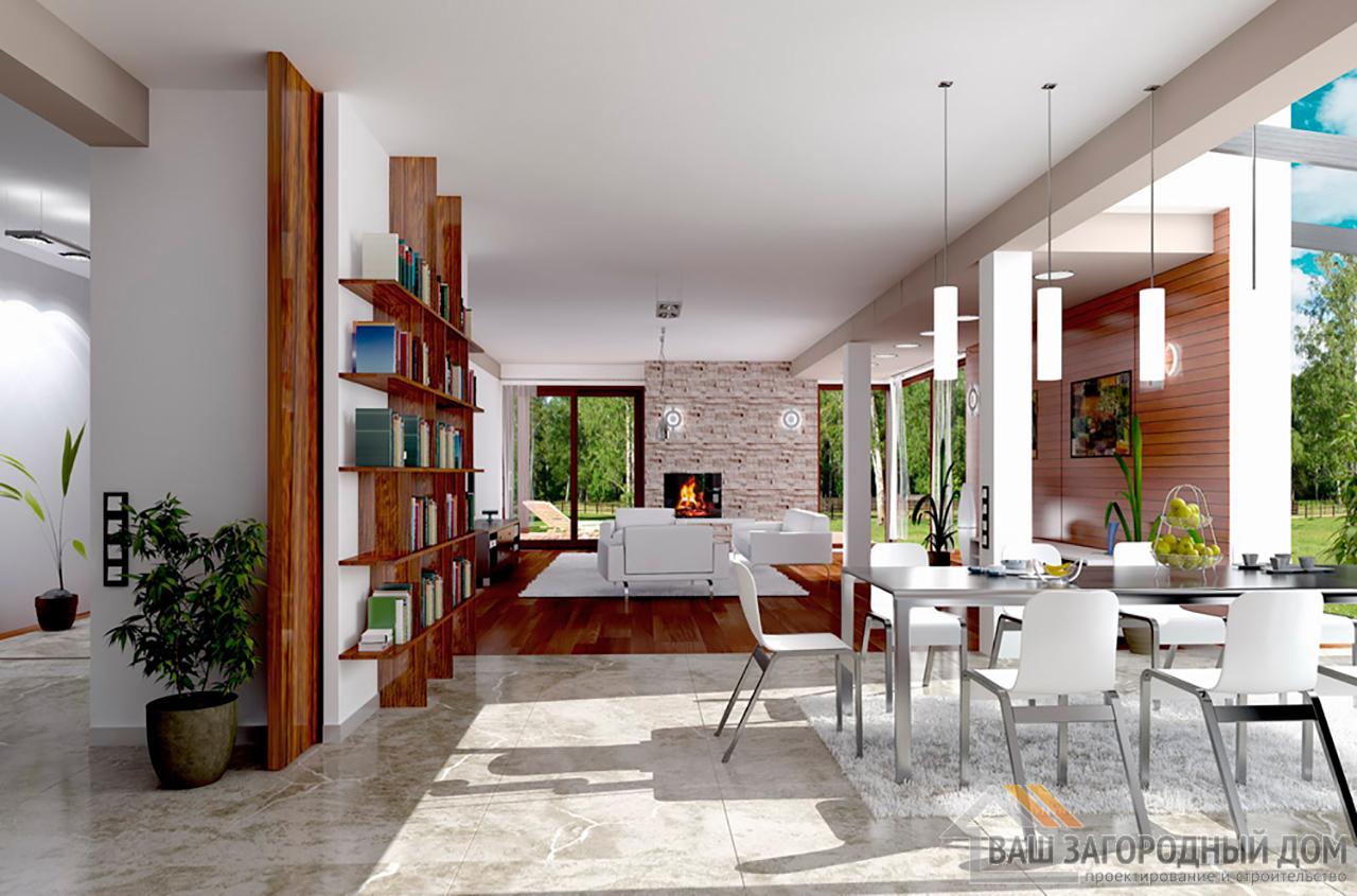 Проект  двухэтажного дома с пристроенным гаражом площадью 426 м2  вид 3