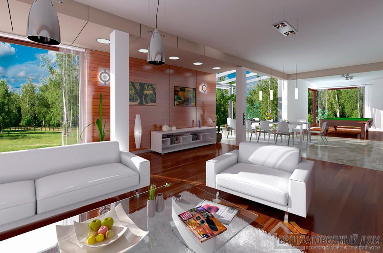 Проект  двухэтажного дома с пристроенным гаражом площадью 426 м2  вид 4