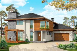 Проект  двухэтажного дома с пристроенным гаражом площадью 426 м2