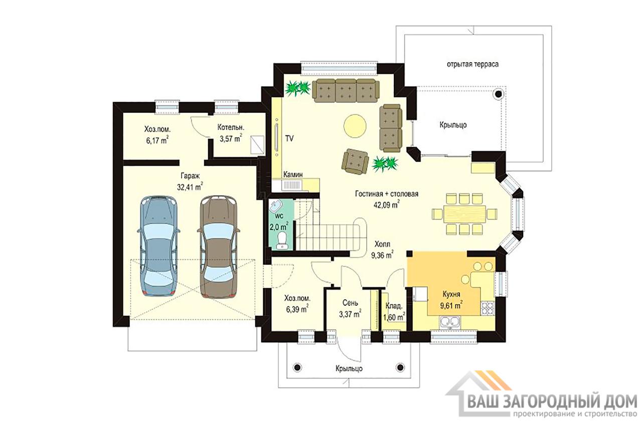 Проект небольшого дома в один этаж с интересной архитектурой площадью 240 + жилой чердак