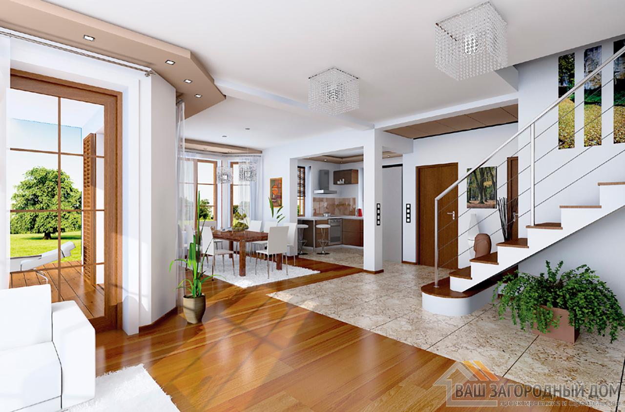 Проект небольшого дома в один этаж с интересной архитектурой площадью 240 + жилой чердак вид 3