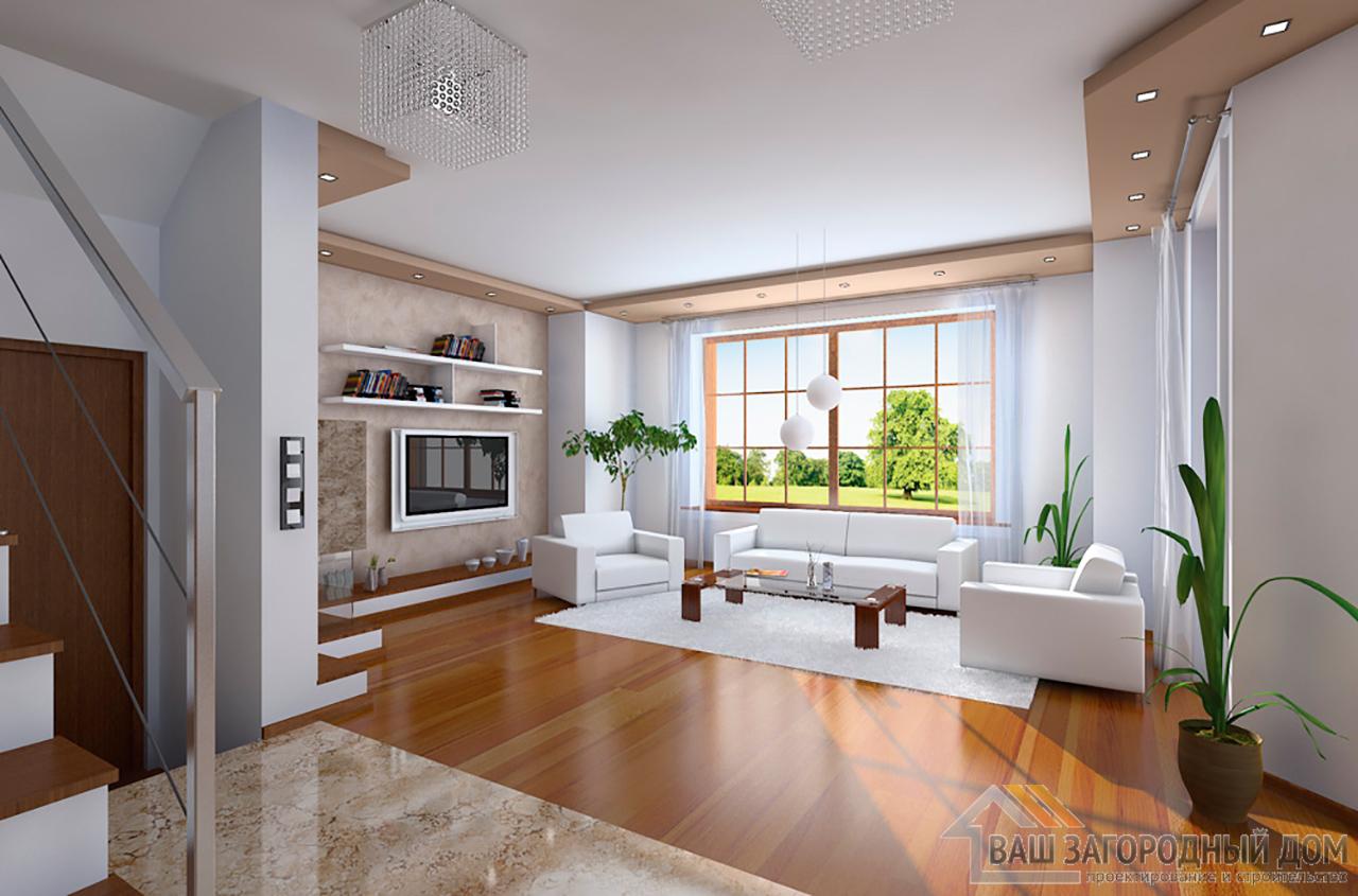 Проект небольшого дома в один этаж с интересной архитектурой площадью 240 + жилой чердак вид 4