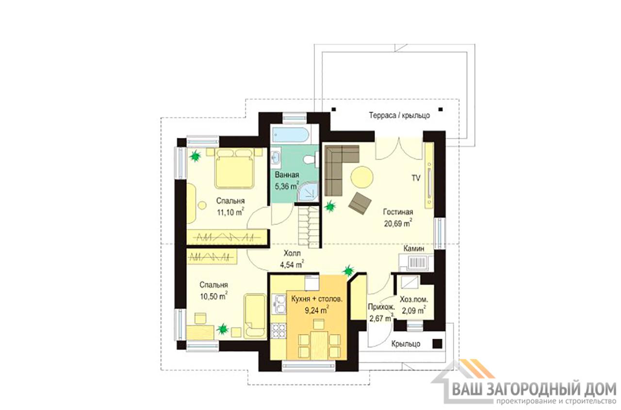 Проект 1 этажного дома площадью 86 м2 вид 3