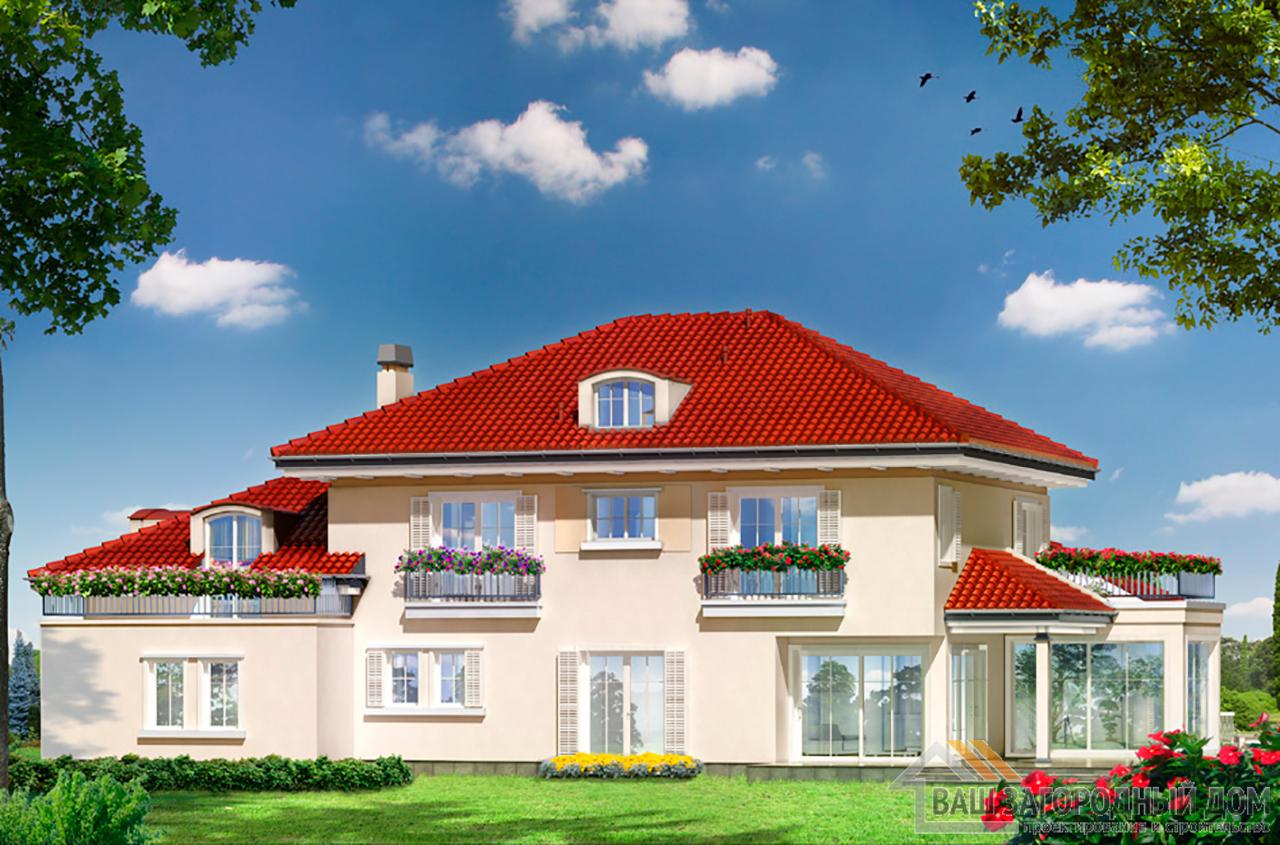 Проект представительного 2-х этажного дома площадью 439 м2  вид 6