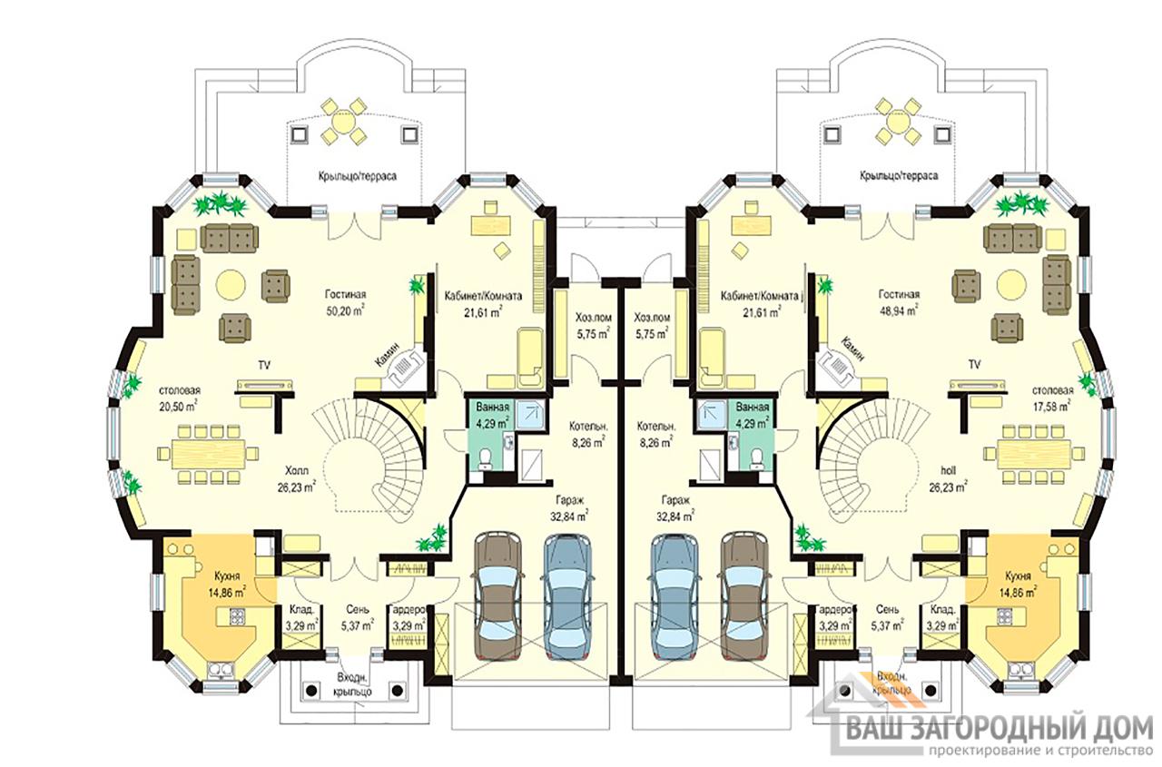 Проект дома в два этажа на две семьи  площадью одной части 415 м2  вид 2