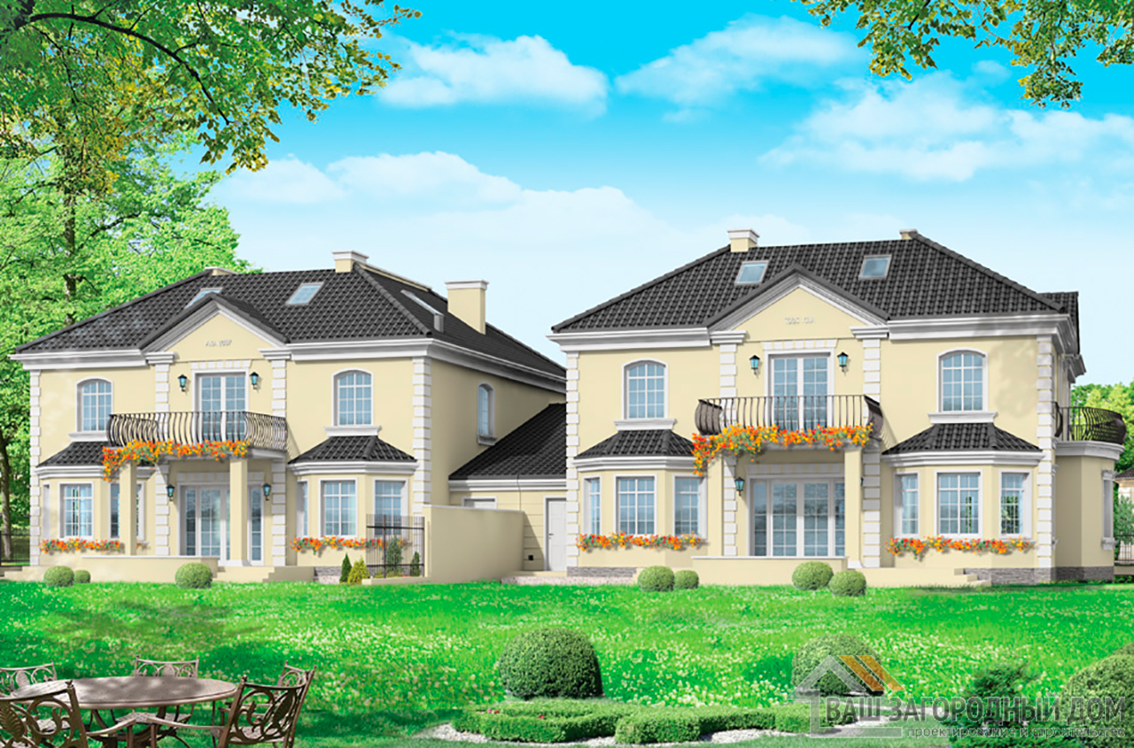 Проект дома в два этажа на две семьи  площадью одной части 415 м2  вид 3