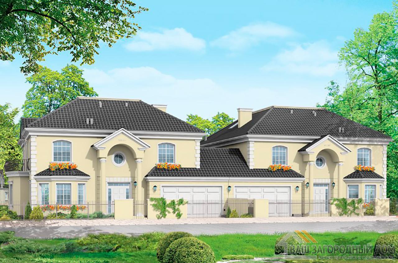 Проект дома в два этажа на две семьи  площадью одной части 415 м2