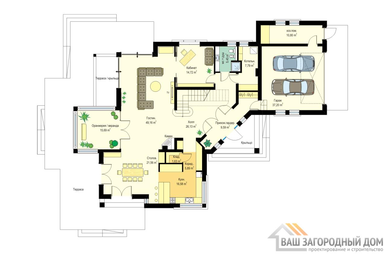 Проект представительного 2-х этажного дома площадью 439 м2  вид 5