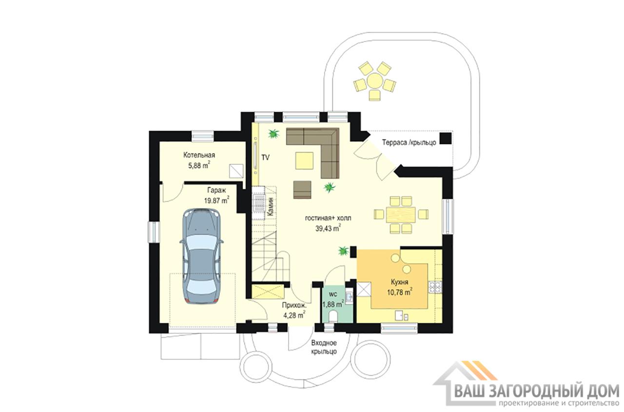 Проект одноэтажного дома с мансардой и гаражом площадью 192 м2 вид 2