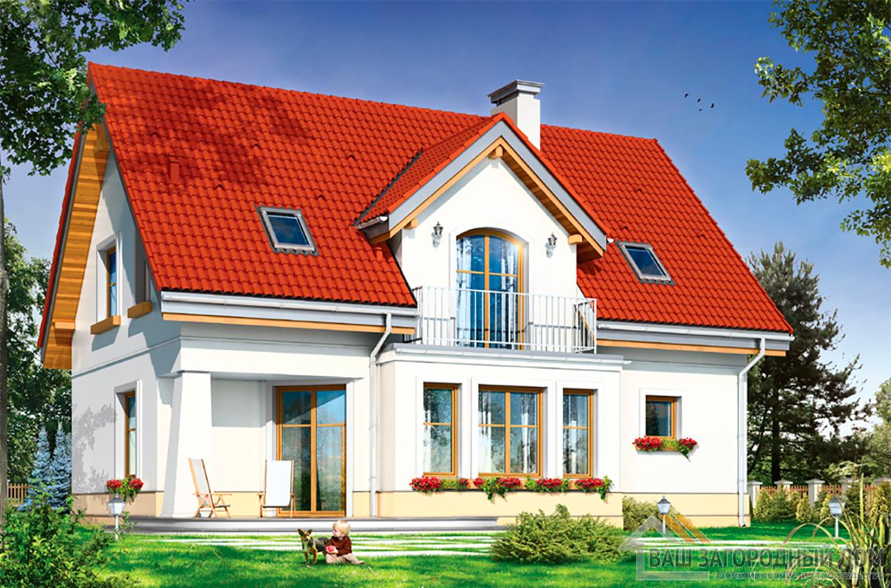 Проект одноэтажного дома с мансардой и гаражом площадью 192 м2 вид 3