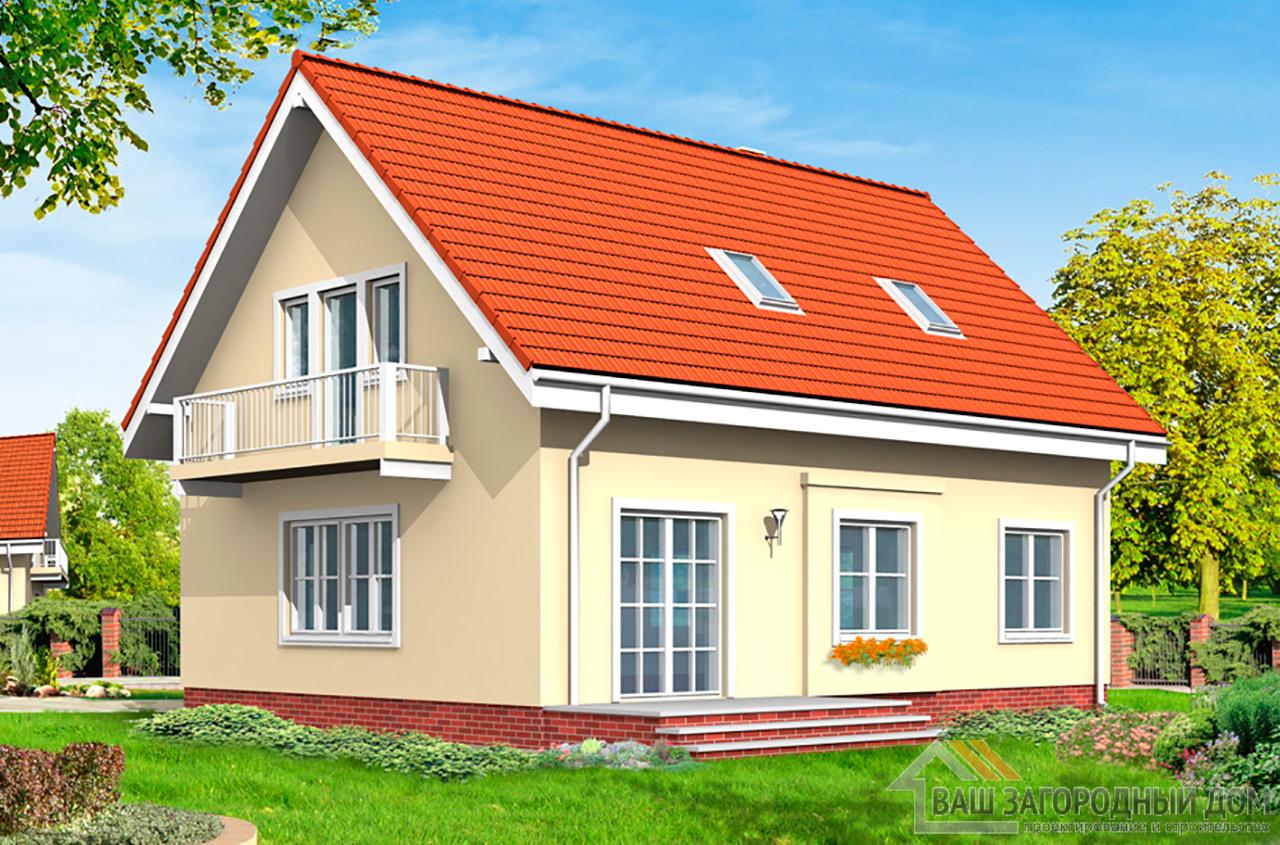 Проект одноэтажного дома с жилым чердаком и подвалом площадью 200 м2 вид 3