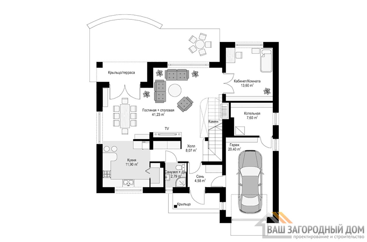 Готовый проект 1 этажного дома с жилым чердаком площадью 238 м2