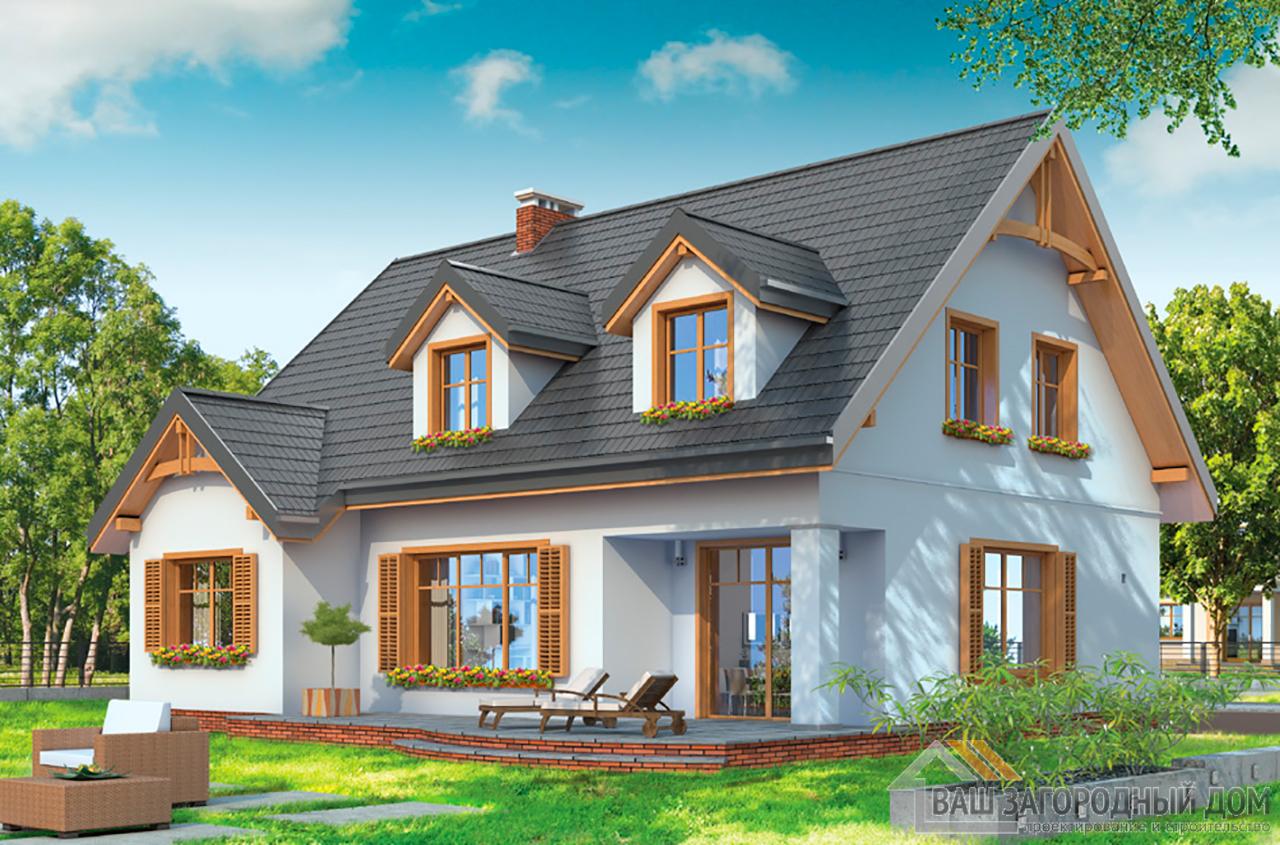 Готовый проект 1 этажного дома с жилым чердаком площадью 238 м2 вид 3