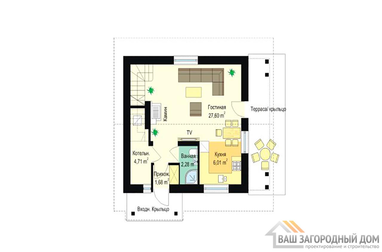 Проект компактного дома в один этаж с мансардой площадью 94 м2 вид 4
