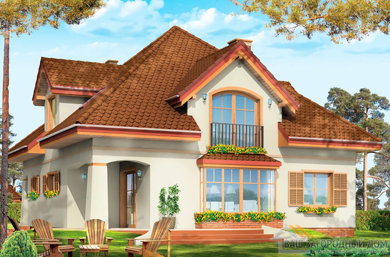 Готовый проект 1 этажного дома с шатровой крышей и мансардой площадью 202м2  вид 2