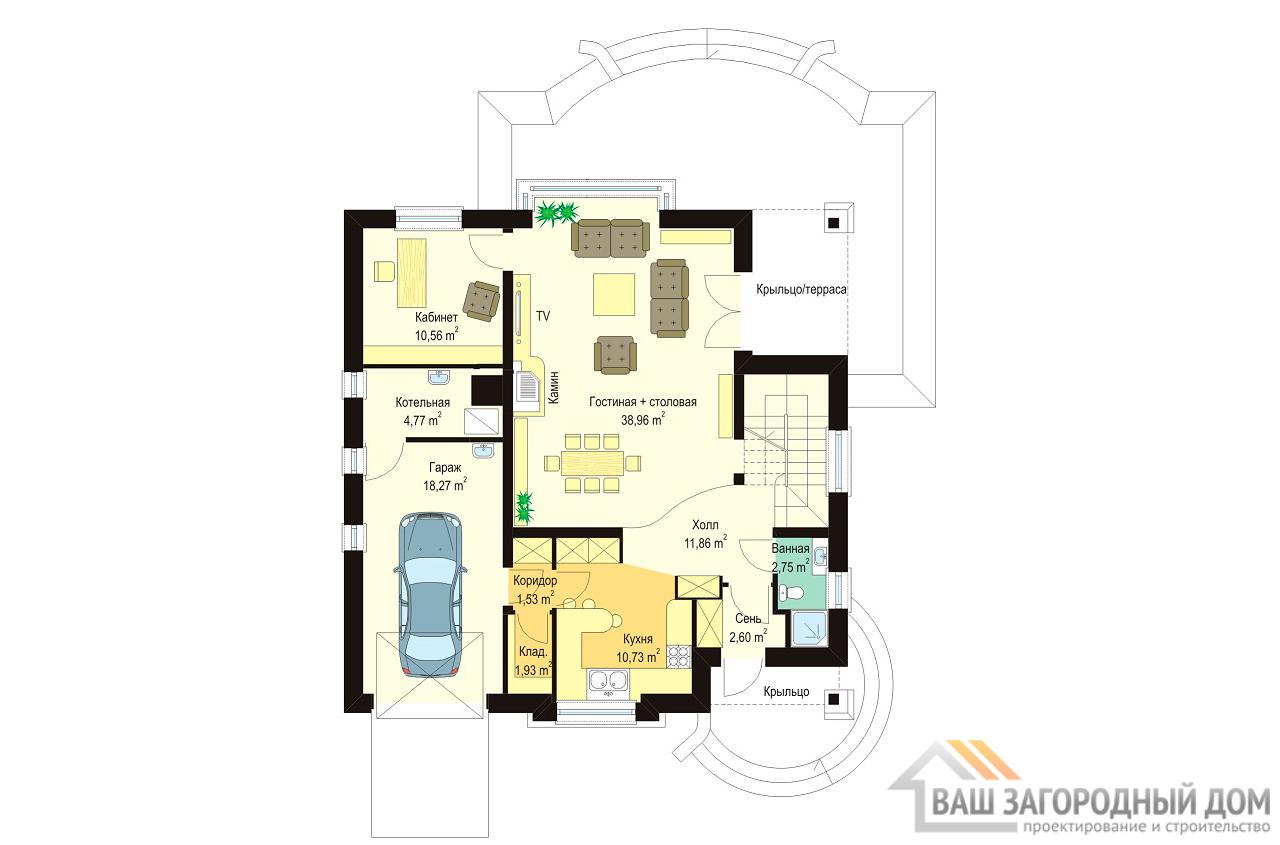 Готовый проект 1 этажного дома с шатровой крышей и мансардой площадью 202м2  вид 3