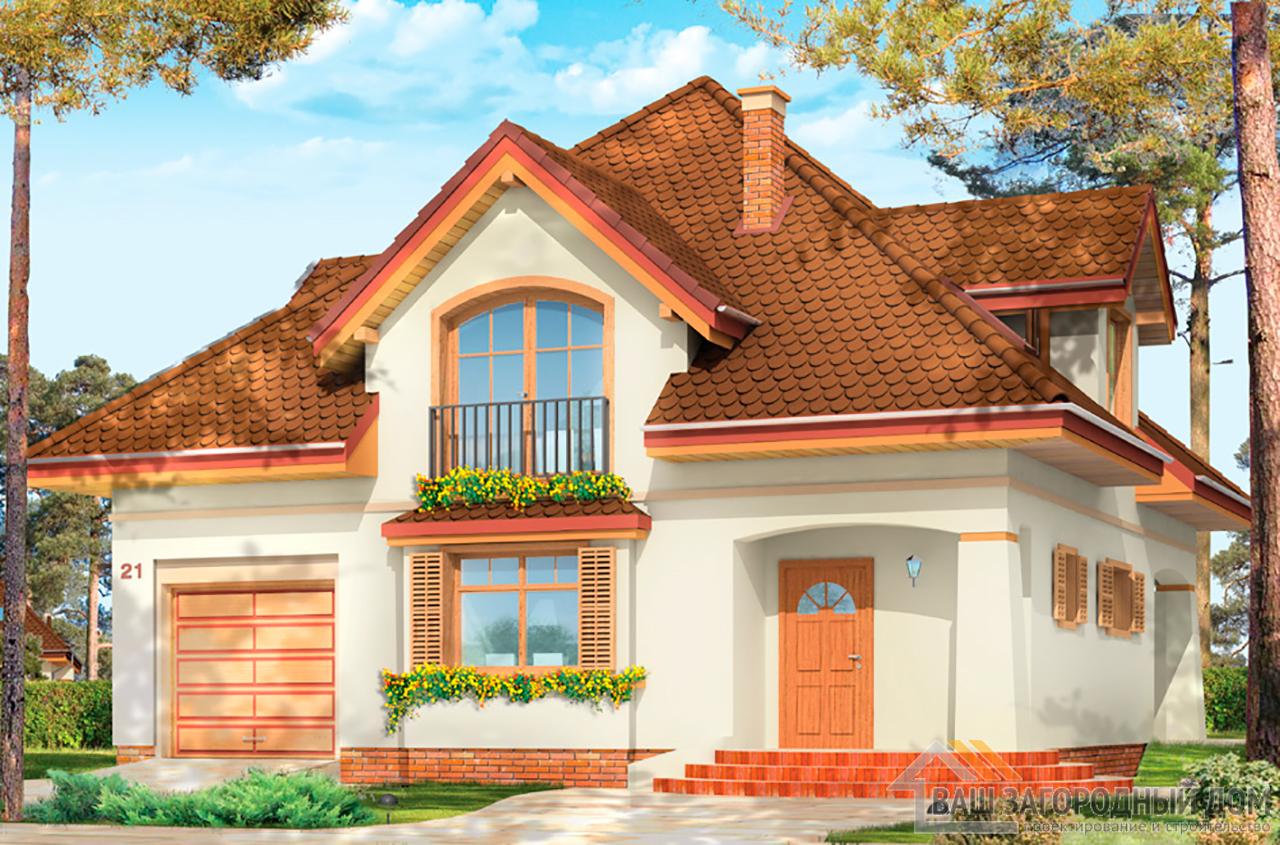 Готовый проект 1 этажного дома с шатровой крышей и мансардой площадью 202м2