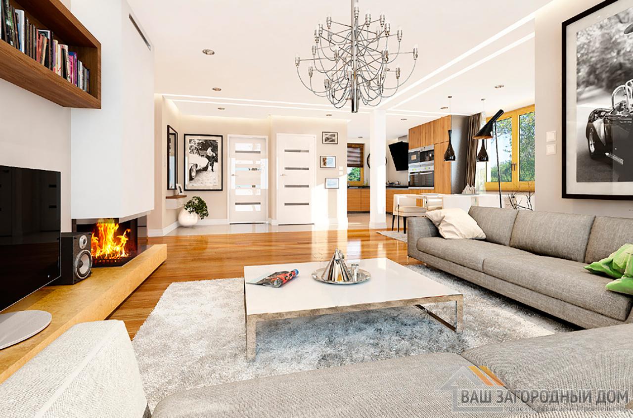 Проект стандартного  1 этажного дома площадью 166 м2 вид 3