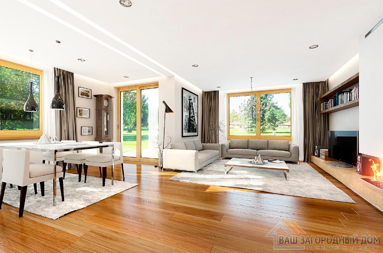Проект стандартного  1 этажного дома площадью 166 м2 вид 4